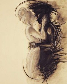 Charcoal drawing trying to depict the pain and frustration of a long distance relationship. Original art (Try Love) Arte Horror, Art Plastique, Love Art, Art Inspo, Painting & Drawing, Long Painting, Drawing Drawing, Light In The Dark, Amazing Art