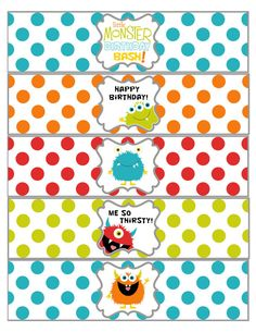 Little Monster Birthday Water Bottle Lables by shelleyspaperstudio, $5.00#Repin By:Pinterest++ for iPad#