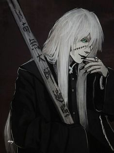 """""""There is someone that I want to meet, or maybe be noticed by."""" She said looking at Undertaker while walks away in silence. Black Butler Undertaker, Black Butler Anime, Manga Boy, Manga Anime, Black Buttler, Shinigami, Best Cosplay, Anime Guys, Samurai"""