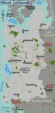 West Jutland cities are Herning, Holstebro, Lemvig, Ringkøbing, Skive, Skjern, Struer, Varde, Videbæk.