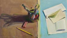 """Boyd Gavin, """"Still Life with Stationary"""", oil on canvas Still Life, Oil On Canvas, Stationary, Book Art, Sculptures, Paintings, Models, Nature, Kunst"""