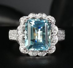 Flower 9x11mm Emerald Cut Aquamarine .42ctw Diamonds 14K White gold Wedding Ring on Etsy, $980.00
