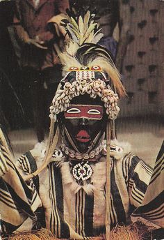 Scanned postcard image from West Africa, Dan Masked Dancer Nigerian Culture, African Culture, African Masks, African Art, Art Tribal, Statues, Art Populaire, Art Premier, Witch Doctor