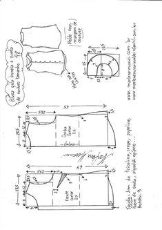 Sewing Blusas Blusa com queda de ombro e gola boneca Beginner Sewing Patterns, Bag Patterns To Sew, Dress Sewing Patterns, Clothing Patterns, T Shirt Sewing Pattern, Velvet Dress Designs, Sewing Room Design, Evening Dress Patterns, Costura Diy
