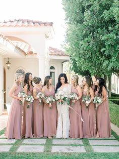 Beautiful bridesmaid dresses for all skin tones, full length strapless lux chiffon dress with a sweetheart neckline and modified circle skirt. #bridesmaiddresses #weddinginspo #bridesmaids #dustyrosedress #fashionablyy