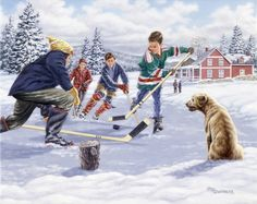 This Time for Sure by Richard De Wolfe ~ boys playing ice hockey on frozen pond ~ winter Canvas Art, Canvas Prints, Art Prints, Sports Painting, Framed Art, Wall Art, Thing 1, Winter Art, Illustrations