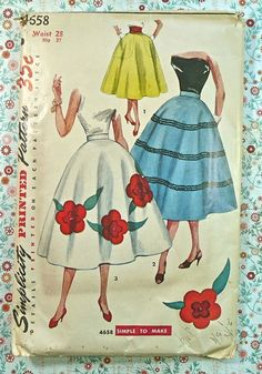 Simplicity 4658 half circle skirt with floral appliques