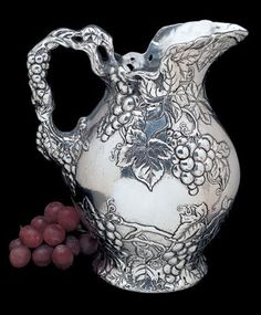 Made by Arthur Court. 752659011813 Part: Absolutely exquisite, this stunning Grape pitcher from Arthur Court Designs will bring luxury and elegance into your home. Bordeaux Vineyards, Antique Tea Sets, French Pattern, Mother Day Wishes, Arthur Court, Silver Water, Baccarat Crystal, French Antiques