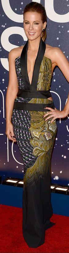 Kate Beckinsale: Dress – Etro, shoes – Salvatore Ferragamo, purse – Rauwolf, earrings – Atelier Swarovski