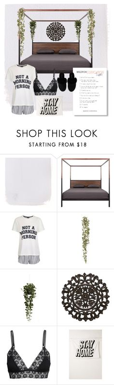 """stay in bed all day"" by soleia19 ❤ liked on Polyvore featuring interior, interiors, interior design, home, home decor, interior decorating, Topshop, Nearly Natural, Fetco and H&M"