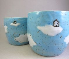 Cloud Cottages...2 Bowls/Tumblers in Stoneware