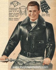 1951 Double Collar Motorcycle Jacket   Lambskin collar snaps on for winter warmth; smart self collar when detached. Windproof, scuff-resistant front quarter horsehide. Body lined for warmth with heavy buffalo plaid, tough cotton sleeve lining fights off wear. Bi-swing back and built-in kidney support. Zip front with chest overlap. Zip map pocket on left side under snap-fastened cigarette pocket. Set-in coat style sleeves with seven-inch closure at cuffs. Has a leather be