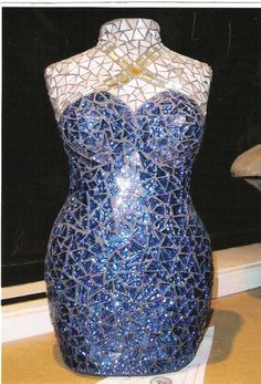 Stained Glass mosaic blue evening dress  @EveParamorVallorani