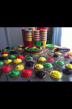 rasta cake and cupcakes