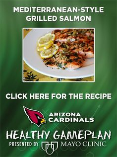 Mediterranean-Style Grilled Salmon. For more healthy recipes visit our Healthy Gameplan board presented by Mayo Clinic. www.pinterest.com/azcardinals. #Healthy #Dinner #Salmon