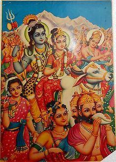 India Vintage Hindu Religious Print God Shiva Barat With Family rg315