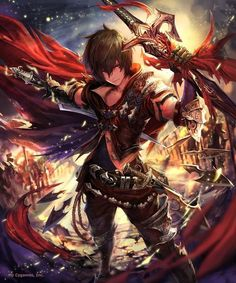 albert (shingeki no bahamut) armor armored boots army artist request belt boots brown eyes brown hair cape cygames dual wielding elbow gloves gloves holding holding sword holding weapon knife official art scabbard shadowverse sheath shingeki no ba Anime Art Fantasy, Art Anime, Anime Kunst, Manga Anime, Anime Angel, Fantasy Characters, Anime Characters, Espada Anime, Cool Animes