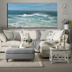 Original White Waves Landscape Abstract Painting, Large Sea Canvas Painting, Blue Sky Abstract Painting On Canvas,Sofa Wall Art Oil Painting Blue Painting, Texture Painting, Acrylic Painting Canvas, Painting Trees, Seascape Paintings, Your Paintings, Beautiful Paintings, Abstract Oil, Blue Abstract