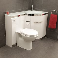 Vigo Right Hand Corner Combination Unit with White Basin, Product Code: 10605, £500.  HG white with glass worktop 500w x 225 projection x 800h, mm.  + taps and waste kit & unspotted basin waste