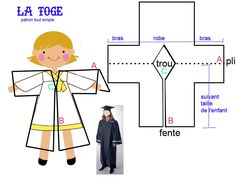 GRADUATION ... un pas vers la grande école - 1 et 2 et 3 DOUDOUS * PATRONS* PATTERNS * GABARITS FETE A THEMES POUR ENFANTS