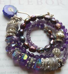 ON SALE chunky bracelet cross bracelet amethyst by soulfuledges