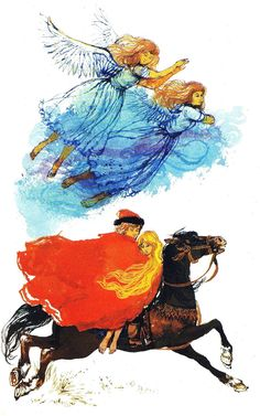 The other two sisters put on their smocks, and fly away. Jankyn wraps the youngest sister in his cloak. He gallops home.  Ruth Manning-Sanders, The Red King and the Witch, illustration Victor G. Ambrus (London, 1964).