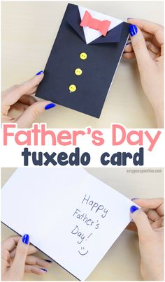 DIY Fathers Day Tuxedo Card - Tuxedo - Ideas of Tuxedo - Father's Day Tuxedo Card Paper Craft for Kids to Make Paper Crafts For Kids, Crafts For Kids To Make, Craft Activities For Kids, Gifts For Kids, Learning Activities, Paper Crafting, Diy Birthday Cards For Dad, Handmade Birthday Cards, Diy Father's Day Gifts