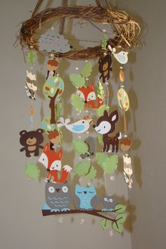 Woodland Critter Forest Animal Baby Mobile. OMG, if I somehow find all these little creatures already made.. lol