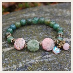 Bee Love Heart Chakra Bracelet. Moss Agate, Rhodochrosite, Green Opal and Rose Quartz. Arrives with descriptive note card and soft organic cotton gift pouch. <3