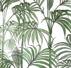 Graham & Brown Julien MacDonald Honolulu Palm Green Foliage Glitter Wallpaper for sale online