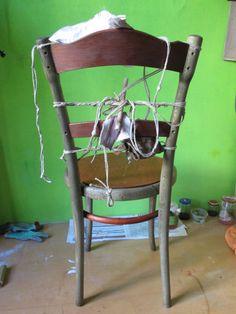 Legatura con corde di una sedia thonet di fine 800
