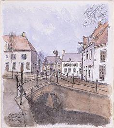 Amersfoort hoek Havik, Johan van Bijsterveld, aquarel, Johan van Bijsterveld