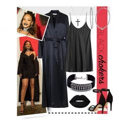 """Rihanna - Black Choker Outfit"" by maranella ❤ liked on Polyvore featuring DANNIJO, Galvan, La Perla, Isabel Marant, David Yurman, BERRICLE, Lime Crime and blackchokers"