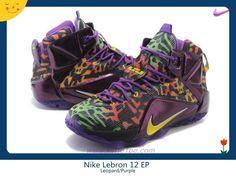 Uomo 684593-585 Nike Lebron 12 EP Leopard/Viola
