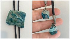 80's Men's Bolo Tie - Sliced Turquoise Agate and Leather Bolo Tie with Silver and Agate Stone Tips by ElkHugsVintage on Etsy