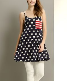 Look at this Reborn Collection Navy Polka Dot Contrast Pocket Tunic on #zulily today!