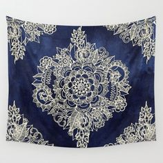 Cream+Floral+Moroccan+Pattern+on+Deep+Indigo+Ink+Wall+Tapestry+by+Micklyn+-+$39.00