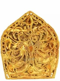 Gold headdress ornament with phoenix motif, Eastern Jin Dynasty 317-420 AD; excavated in Nanjing, China