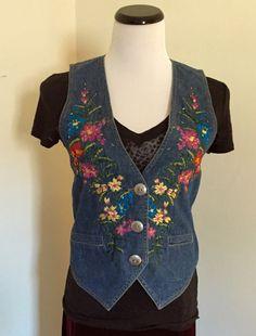 Vintage Embellished Denim Vest by jeanoligy on Etsy