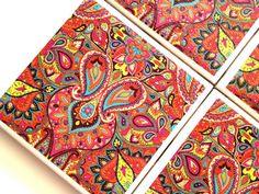 Moroccan Coasters, Ceramic Tile Set, Drink Coaster, Red Moroccan Design, Moroccan Decor, Moroccan Art, Furniture Coaster,