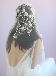 Juliet vintage inspired veil, twigs and honey, embroidered veil, bridal veil Veil Hairstyles, Wedding Hairstyles, Bridal Looks, Bridal Style, Bridal Veils And Headpieces, Bride Veil, Lace Bride, Boho Bride, Wedding Hair Accessories