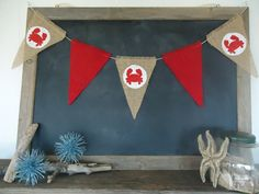 Crab Red / White Burlap Banner Summer Nautical Triangle Bunting by SweetThymes, $19.99