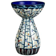 Mid Century Ernest d'Hossche Op Art Blue White Vase ($895) ❤ liked on Polyvore featuring home, home decor, vases, mid century modern vases, mid century vase, blue white vase, ceramic home decor and optical art