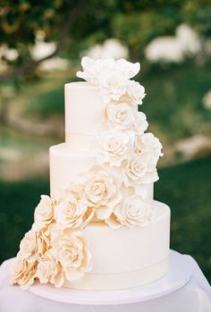 Simply elegant off-white three tier wedding cake wrapped with sugar flowers