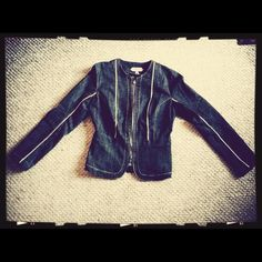 Boom Boom Jeans Dark Denim Jacket Gold Patent Detail, with  Princess seam cut-in around the hips. Sharp Jacket, open or closed! Jackets & Coats Jean Jackets