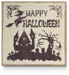 Happy Halloween Haunted House Print Wall Art
