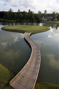 Golf course island pathway