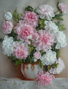 Ribbon embroidery...pink and white roses....