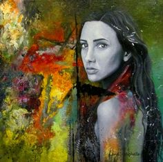"""""""Chrysalis, oil on canvas by Landi-Michelle."""" - When you find yourself cocooned in isolation and you can't find your way out of the darkness, remember that this is similar to the place where caterpillars go to grow their wings. #LandiMichelleArts #femaleartist #art #woman #portrait #vibrantpainting #chrysalis #oilpainting #colourfulpainting #femaleface #beautifulface #unlimitedmoves #arrt_discover"""