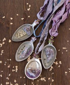 """""""I am not a true rock hound, but I like to think of myself as more of a rock puppy, still learning and growing."""" Brooke Bock captures the beauty of amethyst stones with these spoon necklaces inside GreenCraft Magazine."""